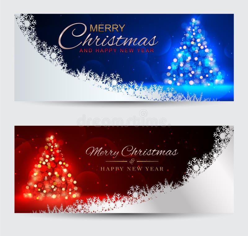 套典雅的横幅圣诞快乐和新年好 人兽交 皇族释放例证