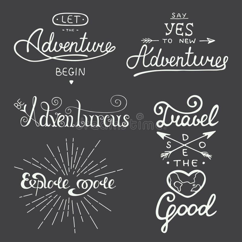 套冒险和旅行贺卡的传染媒介字法, 库存例证