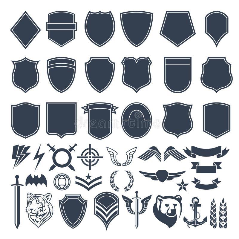 套军事徽章的空的形状 军队黑白照片标志 向量例证