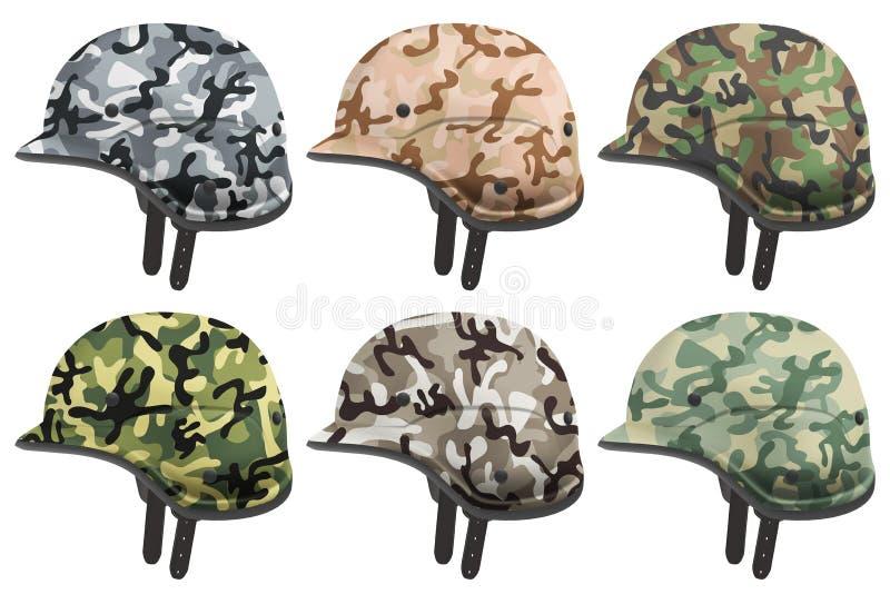 套军事现代伪装盔甲 侧视图 皇族释放例证