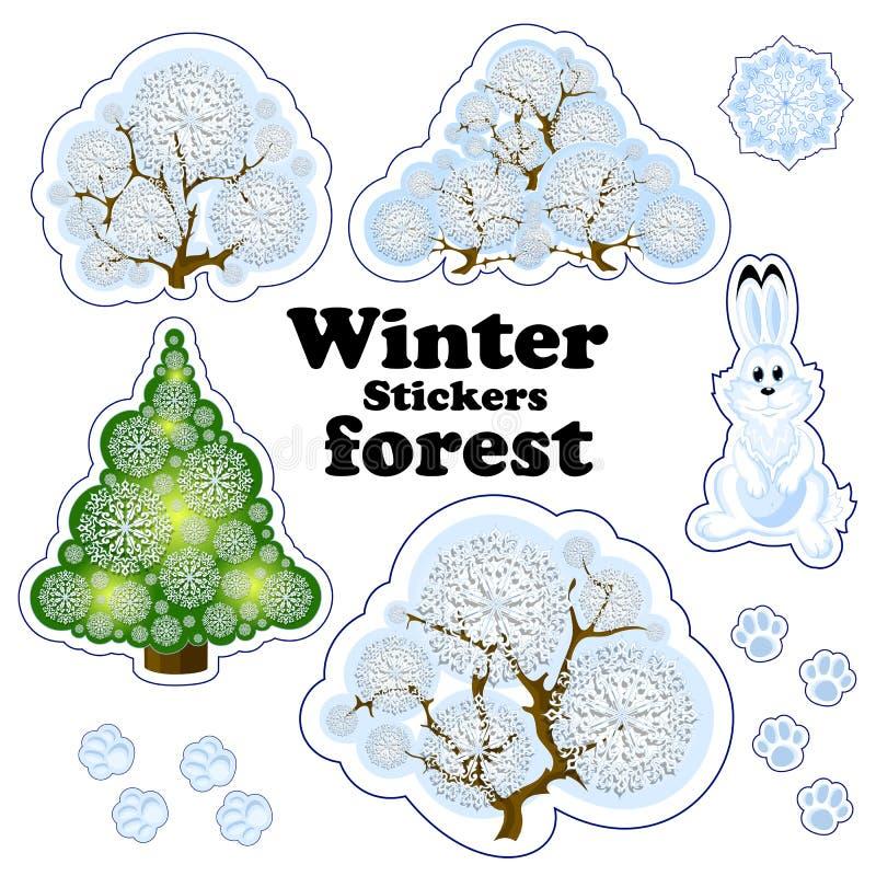 套冬天森林积雪的树、灌木和树的传染媒介标签由透雕细工雪花、兔子和动物tra制成 皇族释放例证