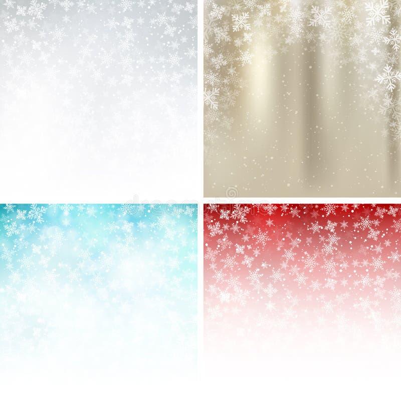 套冬天白色,金子,蓝色,红色背景圣诞节 向量例证