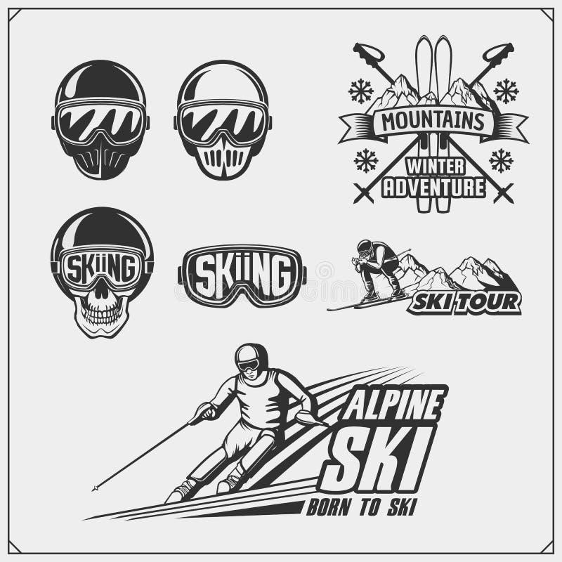 套冬季体育象征,标签和设计元素 滑雪,下坡,障碍滑雪 向量例证