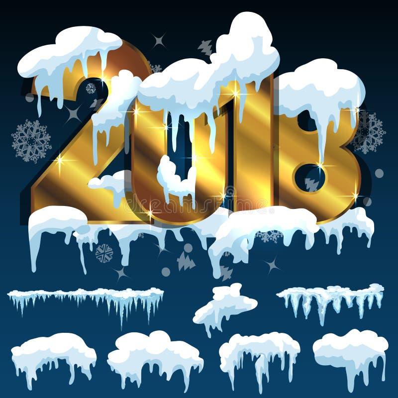 套冰冠 随风飘飞的雪,冰柱,元素冬天装饰 库存例证