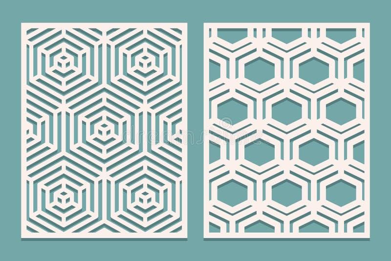 套冲切的卡片 激光与几何样式的被切开的装饰盘区 适用于打印,刻记,激光切口纸, wo 皇族释放例证