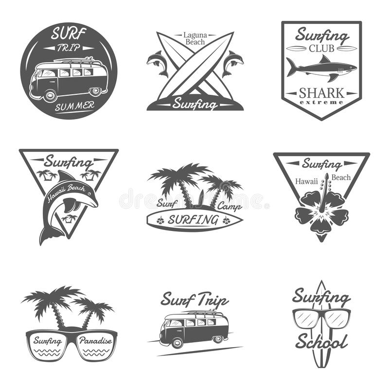 套冲浪在单色样式商标、象征、标签和徽章 库存例证