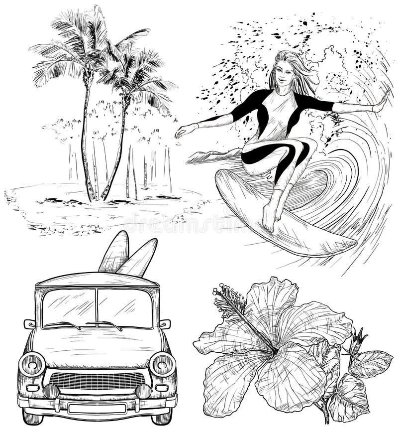 套冲浪的设计海滩样式剪影 皇族释放例证