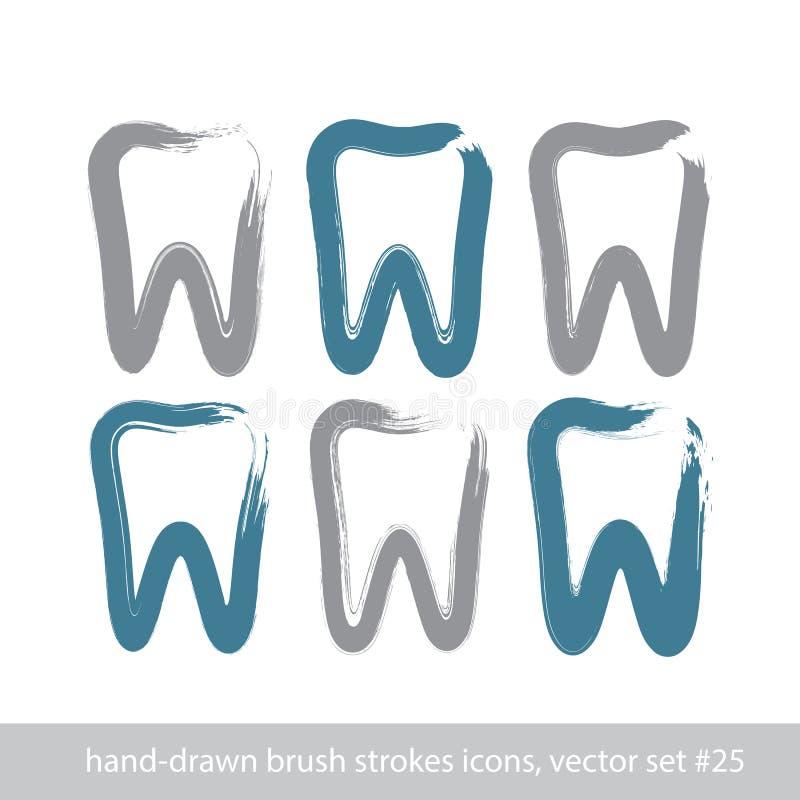 套冲程手拉的简单的牙象,真正的墨水刷子凹道 库存例证