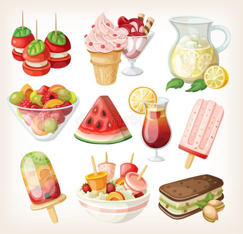 套冷的甜夏天食物 向量例证