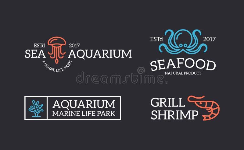 套减速火箭的葡萄酒水母和海鲜、虾、珊瑚、章鱼商标或者权威、象征、标签和徽章和 库存例证