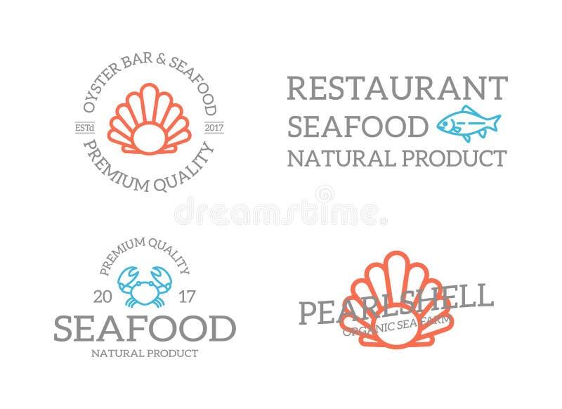 套减速火箭的葡萄酒鱼和壳,螃蟹商标或者权威、象征、标签和徽章和其他烙记的对象 线路 库存例证