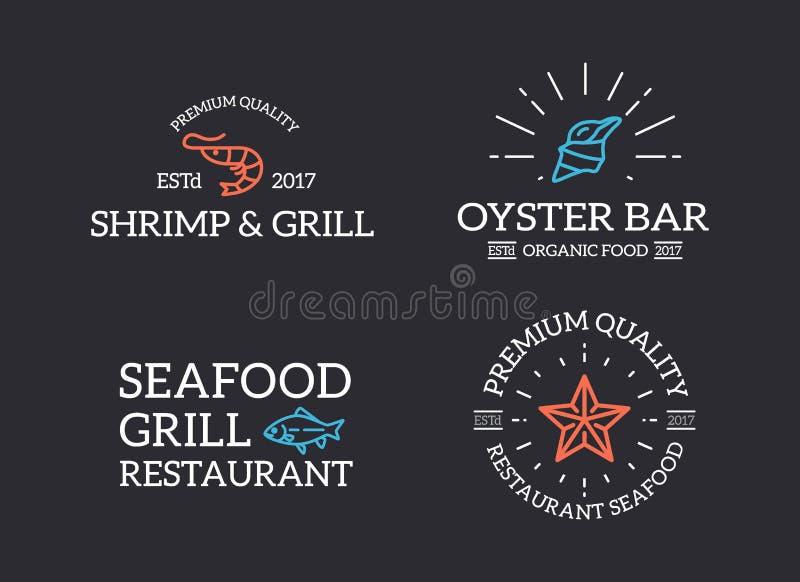 套减速火箭的葡萄酒鱼和海鲜、虾、海星、壳商标或者权威、象征、标签和徽章和其他 向量例证