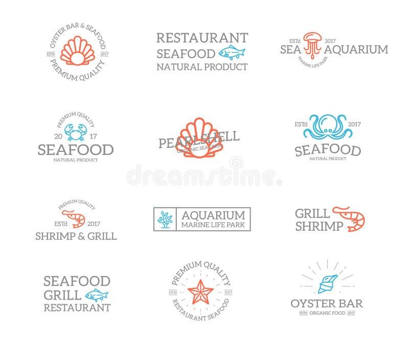 套减速火箭的葡萄酒鱼和海鲜商标或者权威、象征、标签和徽章和其他烙记的对象 向量 库存例证