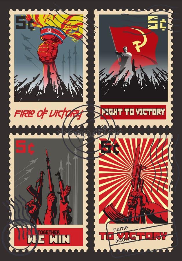套减速火箭的邮票战争宣传 向量例证