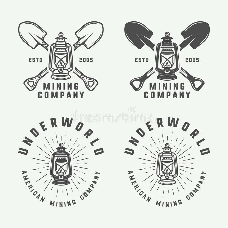 套减速火箭的采矿或建筑商标,徽章,象征 向量例证