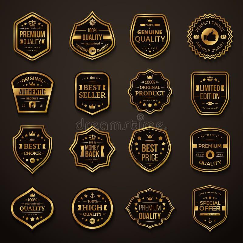 套减速火箭的金子和黑优质质量徽章 向量例证