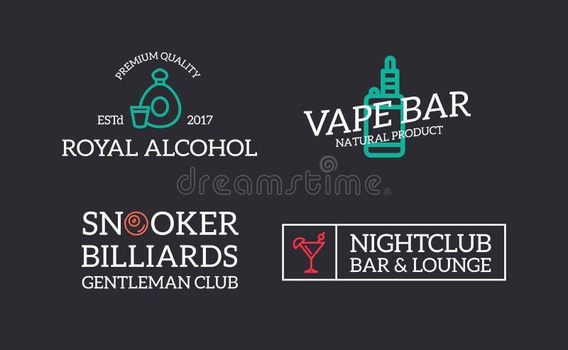 套减速火箭葡萄酒夜总会、台球、vape、科涅克白兰地、迪斯科商标或者权威、象征、标签和徽章和其他 库存例证