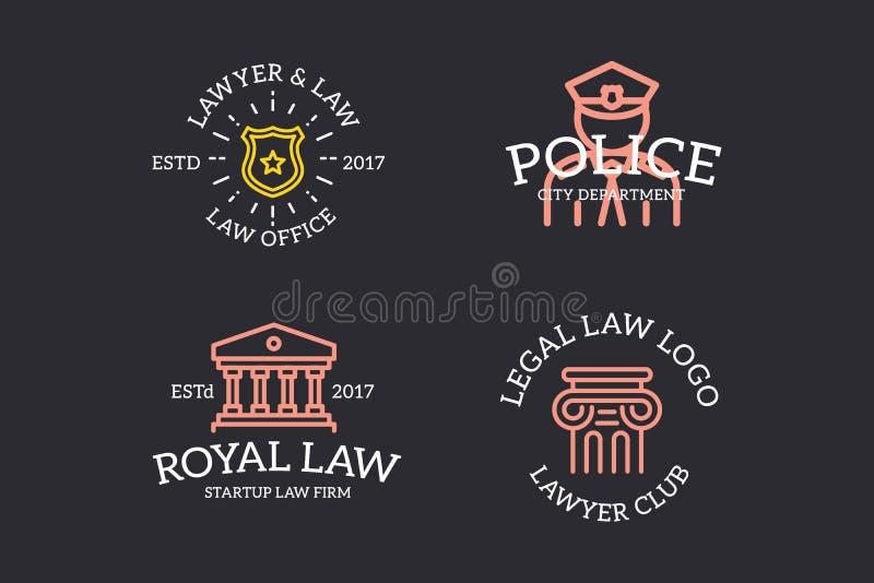 套减速火箭葡萄酒法官、警察、警长星徽章、专栏商标或者权威、象征、标签和徽章和其他 皇族释放例证