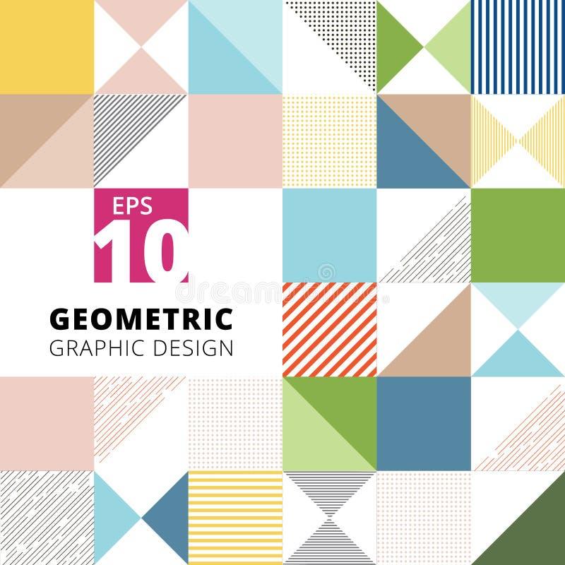 套几何图形设计五颜六色的样式背景, squ 向量例证