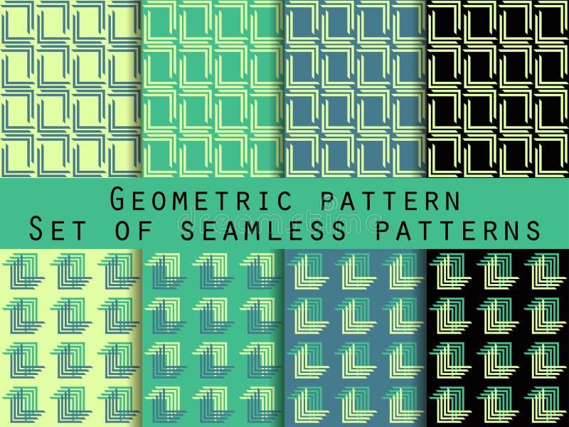 套几何无缝的模式 绿色和黑颜色 对墙纸,床单,瓦片,织品,背景 库存例证