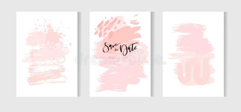 套创造性的普遍卡片 手拉的纹理 婚礼,周年,生日,华伦泰s天,党 设计为 皇族释放例证