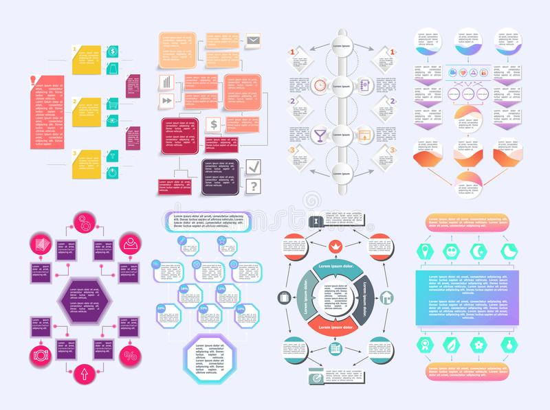 套创造的个人化的图流程图元素不同的箭头 皇族释放例证