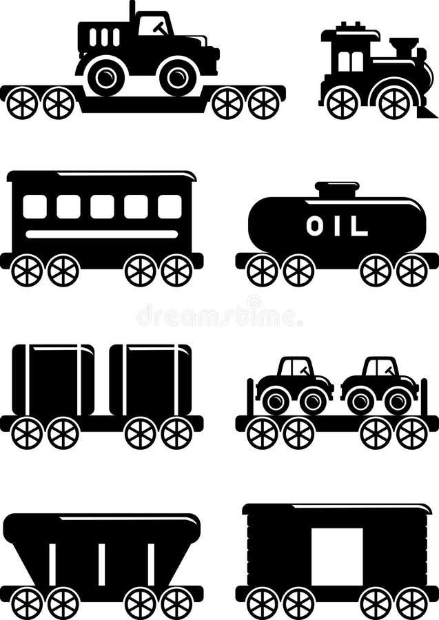 套剪影戏弄在一个平的样式的铁路 皇族释放例证