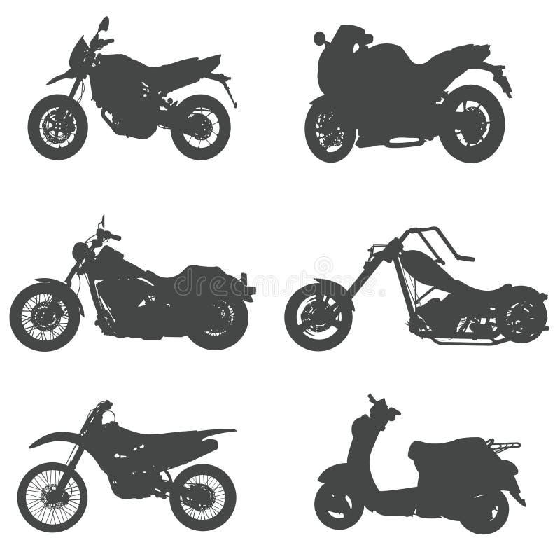 套剪影摩托车,由向量创建 库存例证