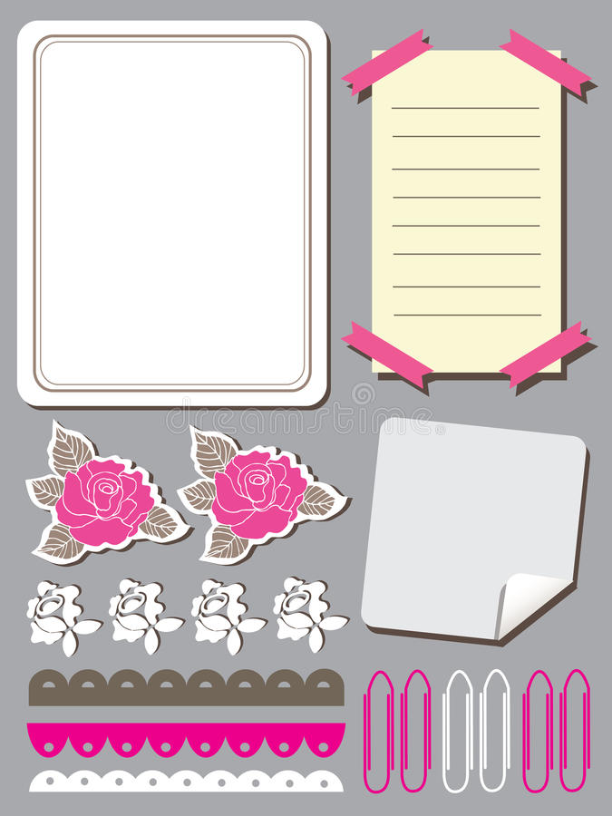 Download 套剪贴薄的逗人喜爱的花元素 向量例证. 插画 包括有 背包, 消息, 例证, 设计, 装饰, 标签, 附注 - 30330905