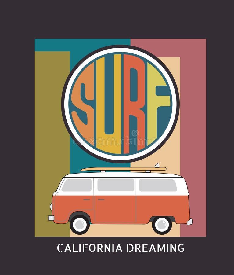 套加利福尼亚海浪印刷术, T恤杉图表,传染媒介为 库存例证