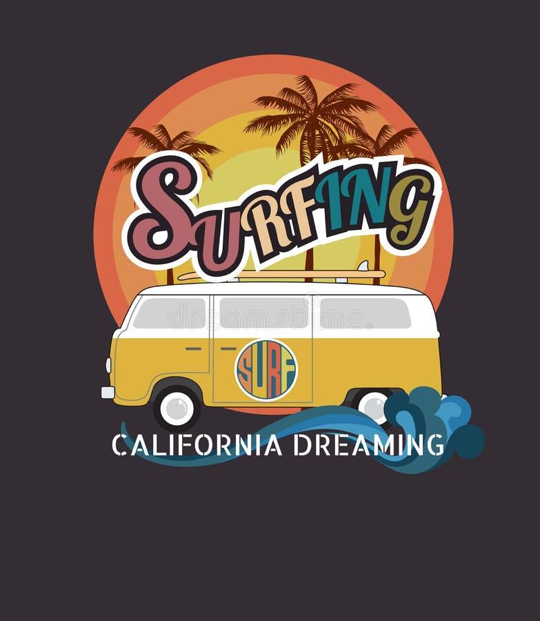 套加利福尼亚海浪印刷术, T恤杉图表,传染媒介为 皇族释放例证
