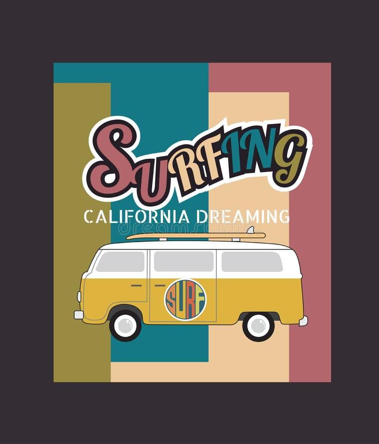 套加利福尼亚海浪印刷术, T恤杉图表,传染媒介为 向量例证