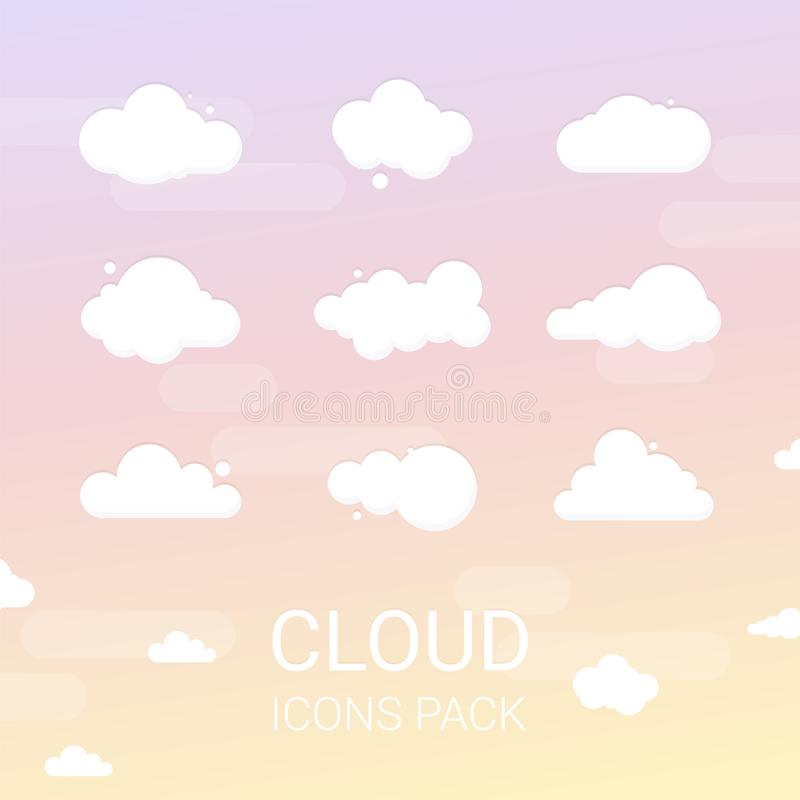 套动画片传染媒介云彩 在蓝色背景的被隔绝的例证 库存例证