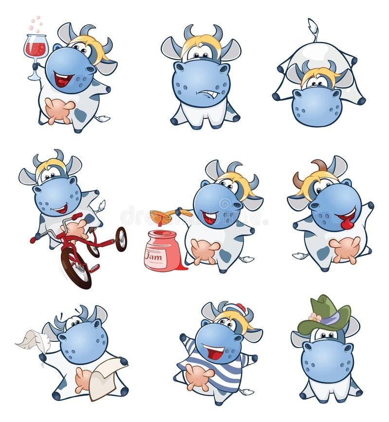 套动画片例证 您的一头逗人喜爱的母牛设计 向量例证