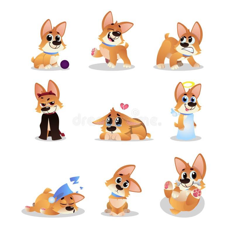 套动画片小狗 滑稽的小犬座用不同的行动 走,想知道,睡觉,咆哮,使用,哭泣 库存例证
