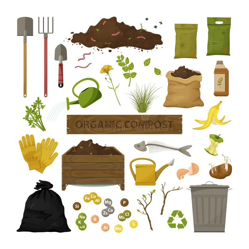套动画片平的象 有机天然肥料题材 园艺工具,木箱,地面,食物垃圾 例证生物,有机 向量例证