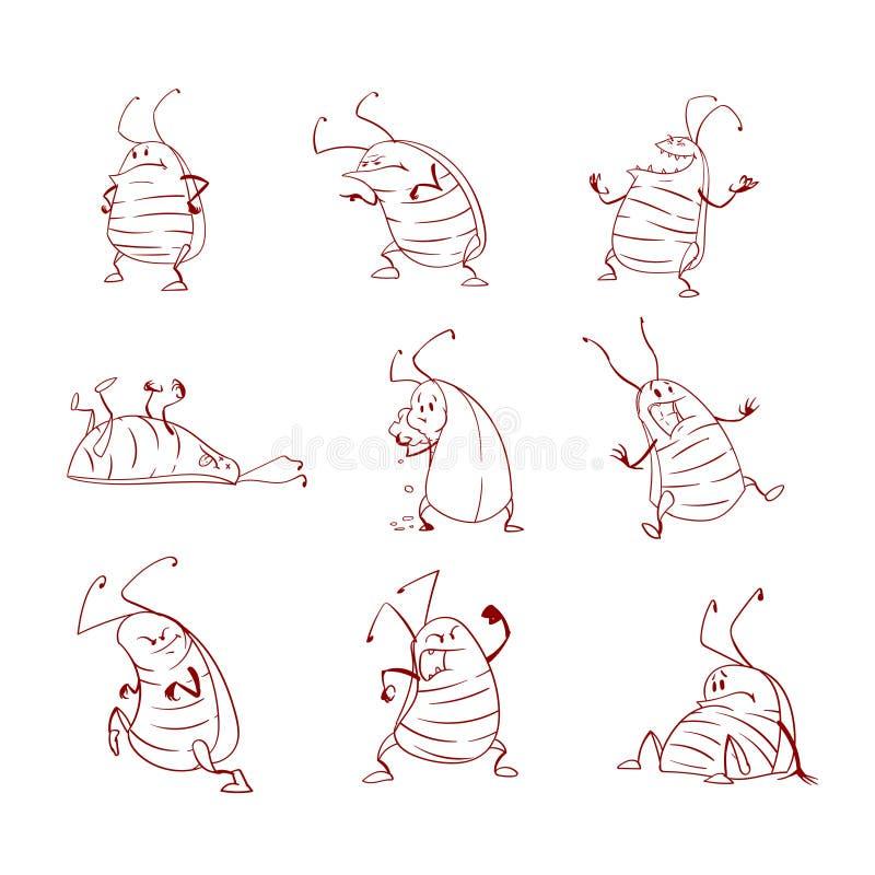 download 套动画片蟑螂 向量例证.图片