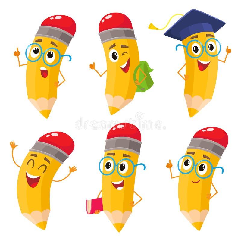 套动画片书写与书,背包,玻璃,毕业盖帽 向量例证