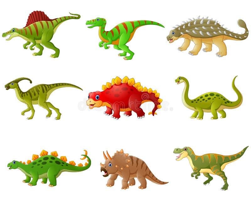 套动画片恐龙汇集 皇族释放例证