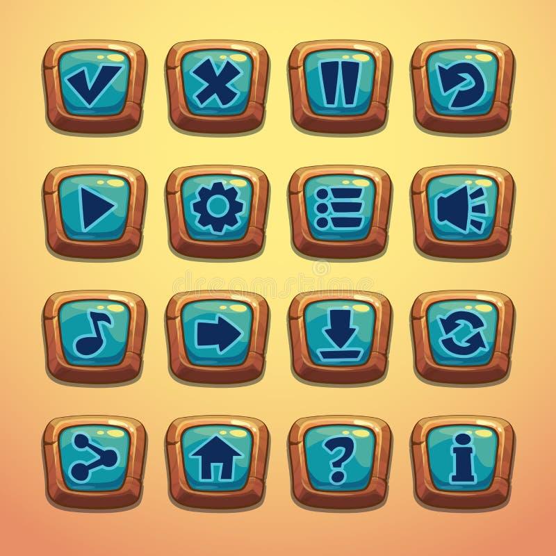 套动画片木按钮 库存例证