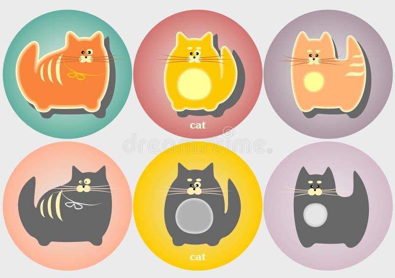 套动画片猫徽章 简单的现代几何平的样式 图库摄影