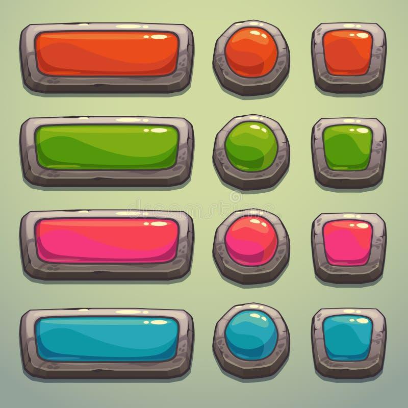 套动画片石头按钮 库存例证
