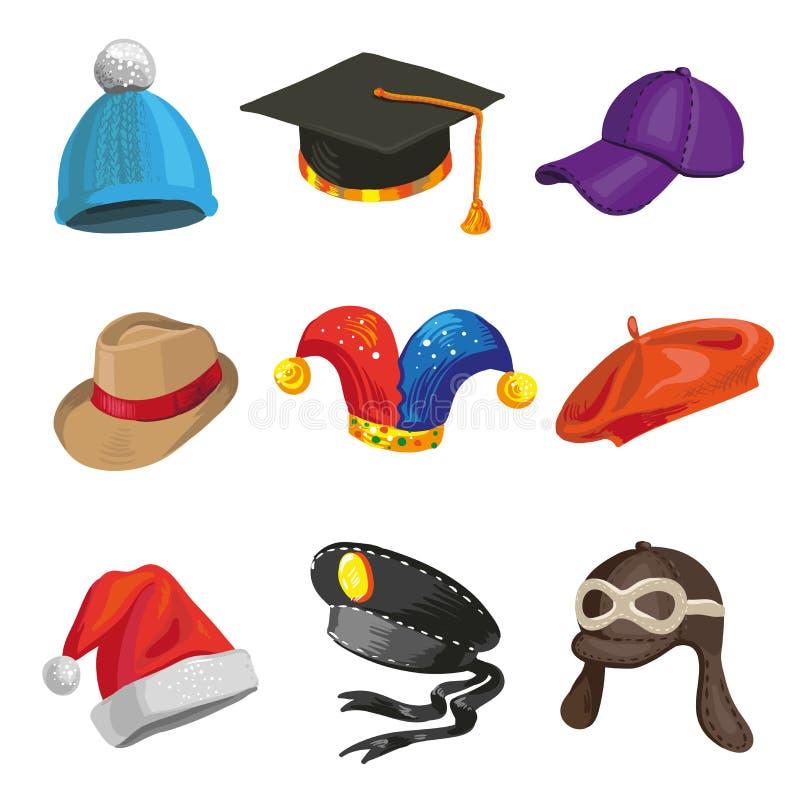 套动画片警察和说笑话者帽子 向量例证