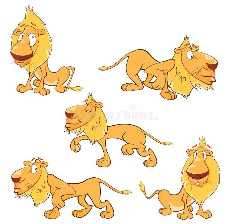 套动画片滑稽的黄色狮子 库存例证
