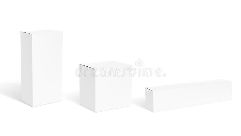套化妆或医疗产品的空白清楚的白色包装的箱子 皇族释放例证