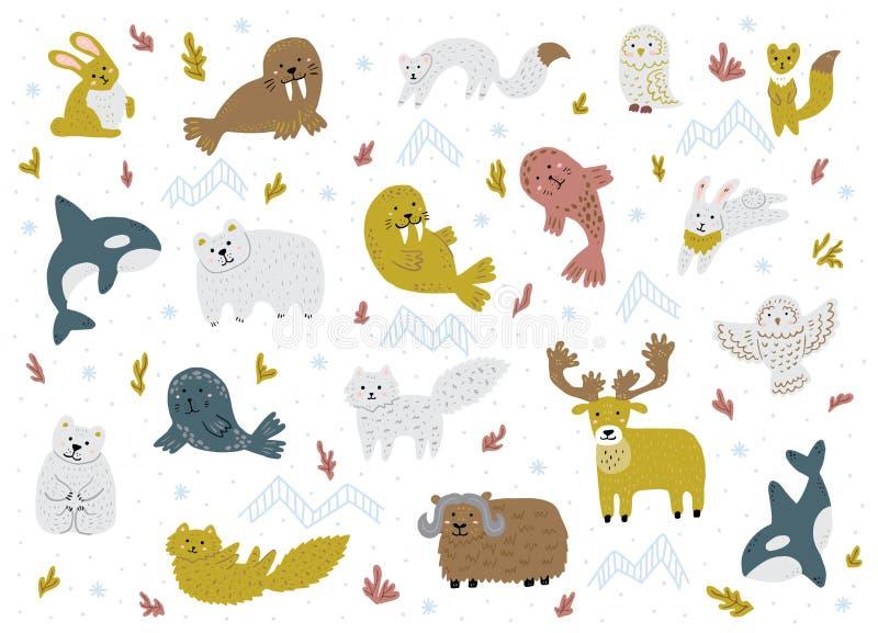 套北极动物 逗人喜爱的手拉的卡通人物 幼稚传染媒介例证 皇族释放例证
