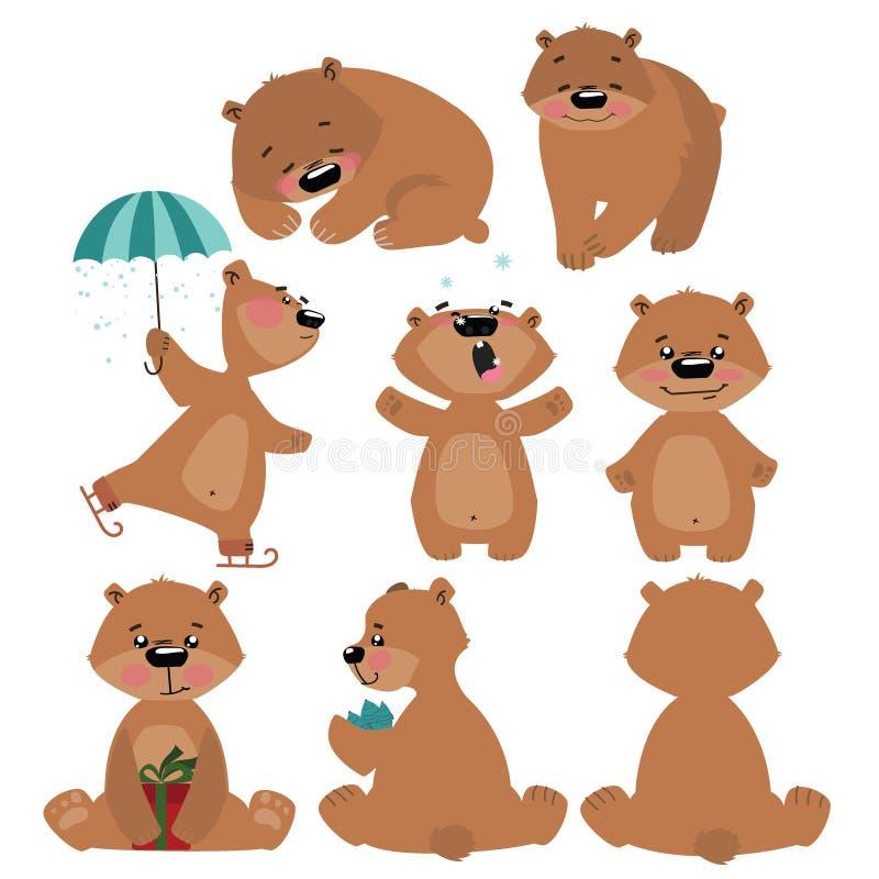 套北美灰熊 动画片棕熊的汇集 孩子的圣诞节例证 皇族释放例证
