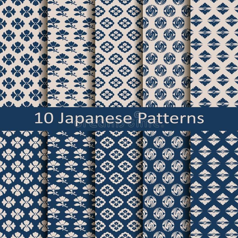 套十个无缝的传染媒介传统日本样式 皇族释放例证