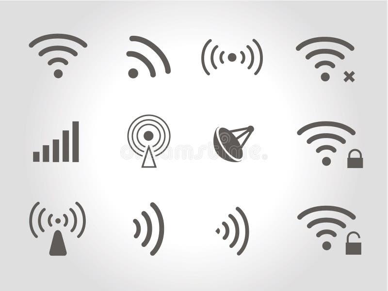 套十二个黑传染媒介无线和wifi象 向量例证