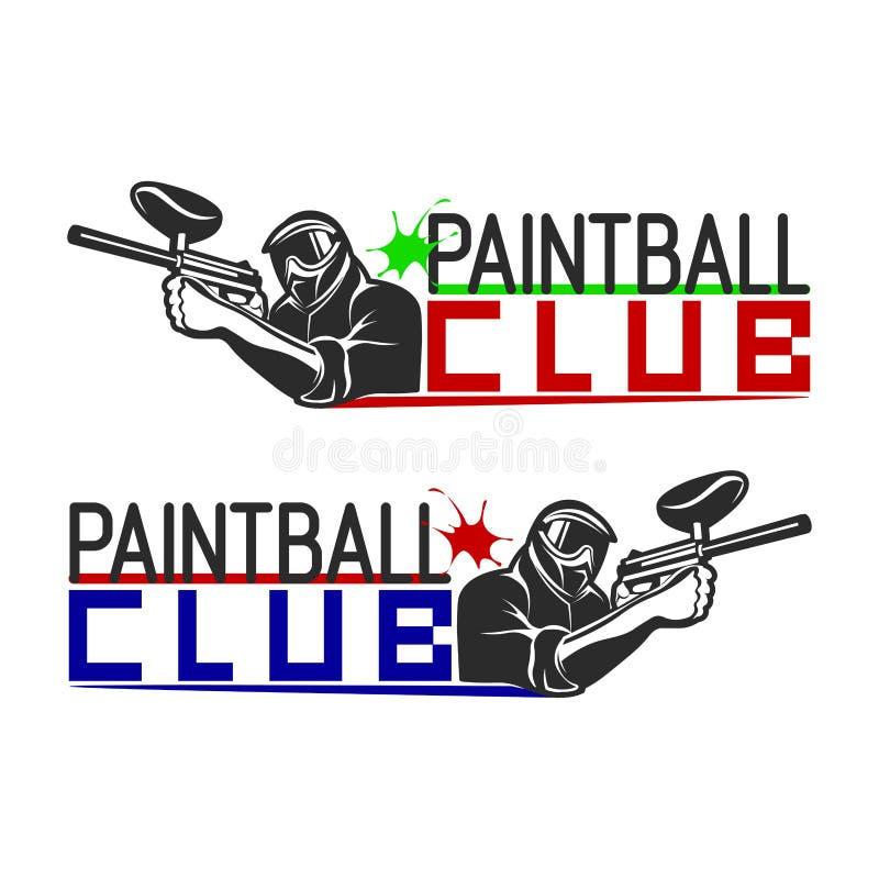 套单色迷彩漆弹运动商标、象征和象 室内和室外迷彩漆弹运动俱乐部元素 有枪的射击人 向量例证